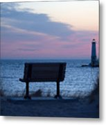 Sunset And Bench Metal Print