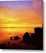 Sunset And Fire Metal Print