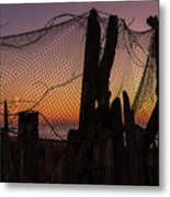 Sunset And Fishing Net Cape May New Jersey Metal Print