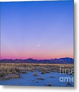 Sunset And Gibbous Moon Metal Print