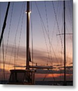 Sunset And Sailboat Metal Print