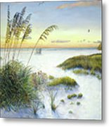 Sunset And Sea Oats At Siesta Key Public Beach Metal Print