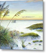 Sunset And Sea Oats At Siesta Key Public Beach -wide Metal Print