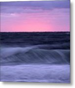 Sunset And Storm Surf On The Gulf Metal Print