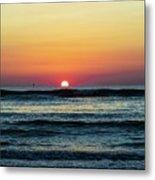 Sunset And Waves Metal Print
