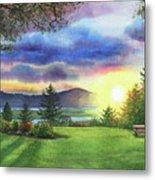 Sunset At Columbia River State Of Washington Metal Print