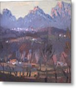 Sunset At Dolomites Belluno Metal Print