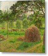 Sunset At Eragny Metal Print by Camille Pissarro