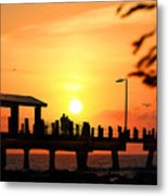 Sunset At Fort De Soto Fishing Pier Pinellas County Park St. Petersburg Florida Metal Print