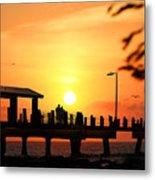Sunset At Fort De Soto Fishing Pier Pinellas County Park St. Petersburg Florida Metal Print