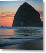 Sunset At Haystack Rock Metal Print