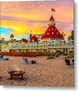Sunset At Hotel Del Coronado Metal Print