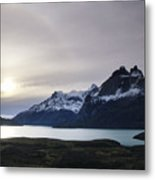 Sunset At Lago Pehoe  In The Cuenos Del Metal Print