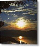 Sunset At Multnomah Falls Metal Print
