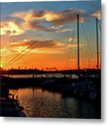 Sunset At Newport Beach Harbor Metal Print