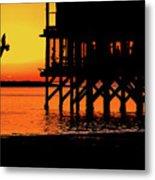 Sunset At Raft With Bird Metal Print