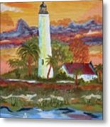 Sunset At St. Mark's Lighthouse Metal Print