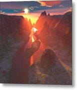 Sunset At The Canyon Metal Print