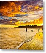 Sunset At The Coast Metal Print