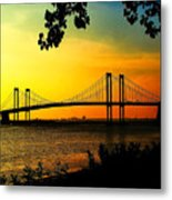 Sunset At The Delaware Memorial Bridge Metal Print