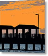 Sunset At The Fishing Pier Metal Print