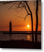 Sunset At The Lighthouse In Muskegon Michigan Metal Print