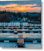 Sunset At The Marina In Winter Metal Print