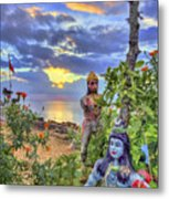 Sunset At The Temple Metal Print