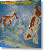 Sunset At The Watering Hole Metal Print