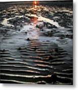 Sunset At The West Shore Llandudno Metal Print