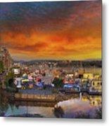 Sunset At Victoria Inner Harbor Fisherman's Wharf Metal Print