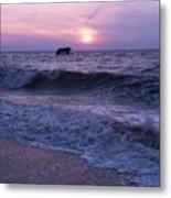 Sunset Beach Nj And Ship Metal Print