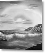 Sunset Beach Pastel Splash In Black And White Metal Print