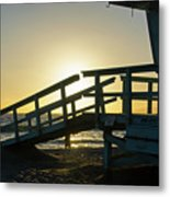 Sunset Behind A Lifeguard Station On Venice Beach Ca Metal Print