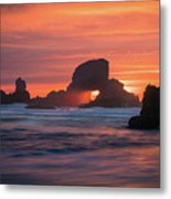 Sunset Behind Arch At Oregon Coast Usa Metal Print