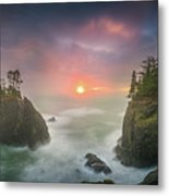 Sunset Between Sea Stacks With Trees Of Oregon Coast Metal Print