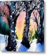 Sunset Birches On The Rise Metal Print