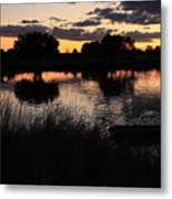 Sunset Boat Metal Print