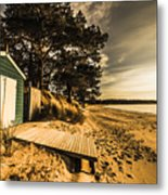 Sunset Boat Shed Metal Print