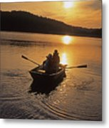 Sunset Boating  Metal Print