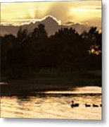Sunset By The Lake Metal Print