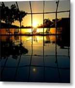 Sunset By The Pool Metal Print
