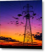 Sunset By The Wires Metal Print