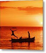Sunset Canoe Jump Metal Print