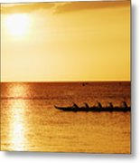Sunset Canoe Metal Print