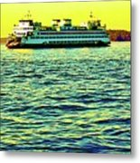 Sunset Cruise On The Ferry Metal Print
