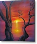 Sunset Dance Fantasy Oil Painting Metal Print