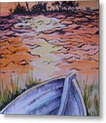 Sunset Dinghy Metal Print