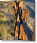 Sunset Fence Metal Print