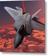 Sunset Fire F22 Fighter Jet Metal Print